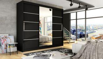 Šatní skříň ASTON VI černá mat/zrcadlo