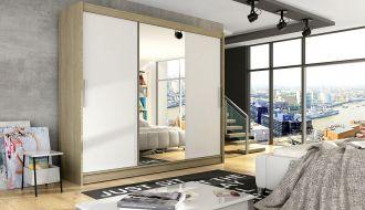 Šatní skříň ASTON I sonoma/bílá zrcadlo