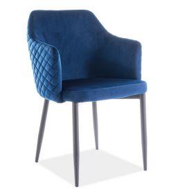 Jídelní čalouněná židle ASTOR velvet granátově modrá/černá