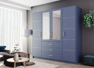 Šatní skříň BASILIO D4 modrá
