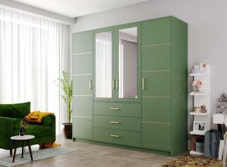 Šatní skříň BASILIO D4 zelená