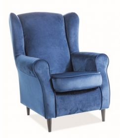 Čalouněné křeslo BARON velvet modrá/wenge