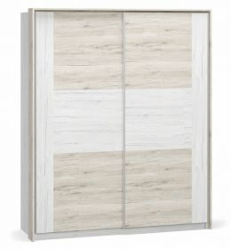 Šatní skříň s posuv. dveřmi KIM dub bílý/san remo