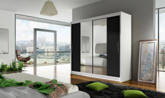 Šatní skříň BEGA II bílá/černá zrcadlo