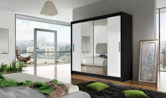 Šatní skříň BURGAS II černá/bílá zrcadlo