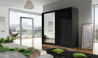 Šatní skříň BEGA VI černá zrcadlo