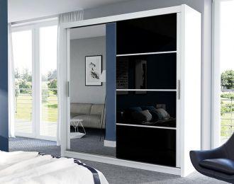 Šatní skříň BRANDON 203 bílá/černá