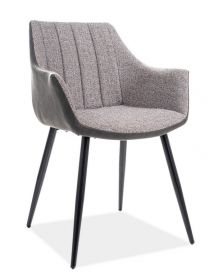 Jídelní čalouněná židle BRUNO šedá/černá