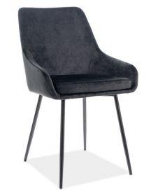 Jídelní čalouněná židle ALBI velvet černá/černá