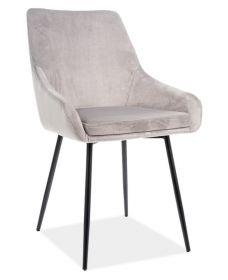 Jídelní čalouněná židle ALBI velvet světle šedá/černá