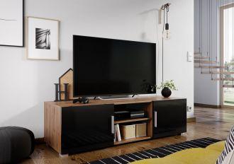 Televizní stolek JERSEY dub artisan/černý lesk