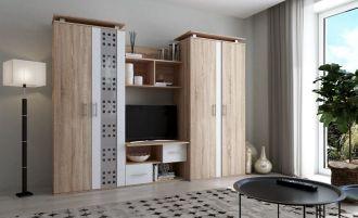 Obývací stěna BELLA dub sonoma/bílý lesk