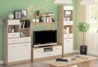 Sestava do obývacího pokoje TIPS dub sonoma/bílá mat