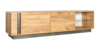 Televizní stolek 2D ARCHI dub kraft zlatý/tmavý kámen