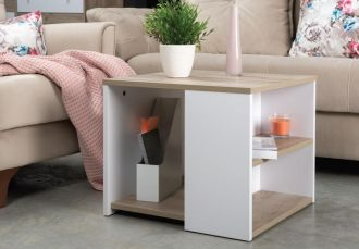 Konferenční stolek SAID dub kraft šedý/bílá