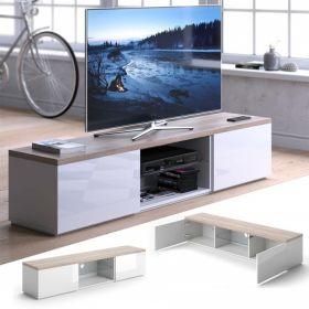 Televizní stolek ZETAN bílá/sonoma/bílá lesk