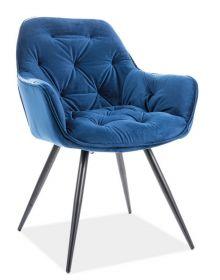 Jídelní čalouněná židle CHERRY velvet modrá/černá