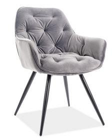 Jídelní čalouněná židle CHERRY velvet šedá/černá