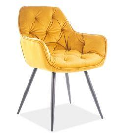 Jídelní čalouněná židle CASA 11009 velvet žlutá curry/černá