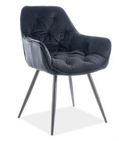 Jídelní čalouněná židle CHERRY velvet černá/černá