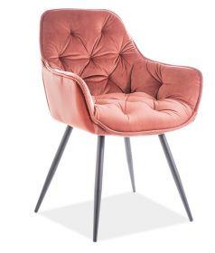 Jídelní čalouněná židle CHERRY velvet starorůžová/černá