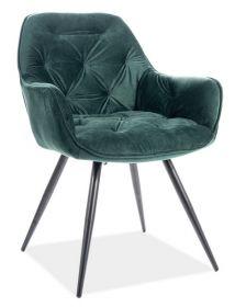 Jídelní čalouněná židle CHERRY velvet zelená/černá