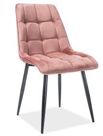 Jídelní čalouněná židle CHIC VELVET starorůžová/černá