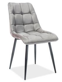 Jídelní čalouněná židle CHIC VELVET šedá/černá
