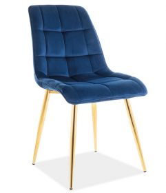Jídelní čalouněná židle CHIC VELVET granátově modrá/zlatá