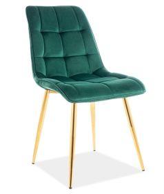 Jídelní čalouněná židle CHIC VELVET zelená/zlatá