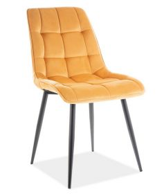 Jídelní čalouněná židle CHIC VELVET žlutá curry/černá