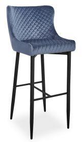 Barová židle COLIN B H-1 VELVET šedá/černá