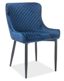 Jídelní čalouněná židle COLIN B VELVET modrá/černá