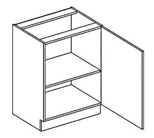 D60 dolní skříňka jednodvéřová pravá PAULA šedá/mocca