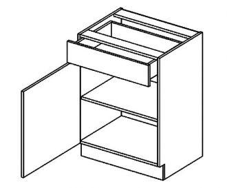 D60S/1 dolní skříňka jednodvéřová s 1 zásuvkou, levá, BIANCA