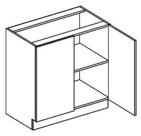 D80 dolní skříňka dvoudvéřová PAULA šedá/mocca