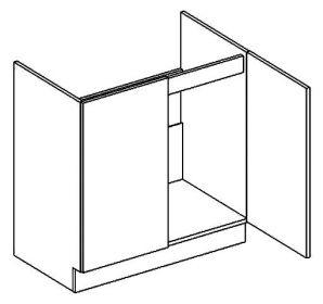 D80ZL dolní skříňka pod dřez PAULA šedá/mocca