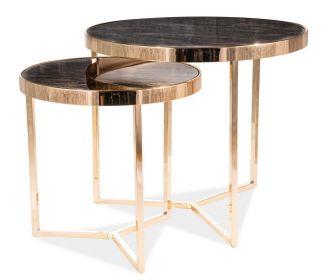 Konferenční stolky DELIA II mramor/zlatá