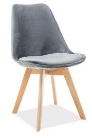 Jídelní čalouněná židle DIOR VELVET šedá/buk