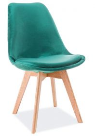 Jídelní čalouněná židle DIOR VELVET zelená/dub