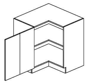 DRPL dolní skříňka rohová PREMIUM de LUX 80x80 cm hruška