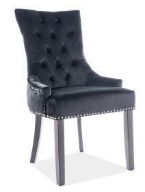 Jídelní čalouněná židle EDWARD VELVET černá/černá