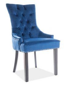 Jídelní čalouněná židle EDWARD VELVET granátově modrá/černá
