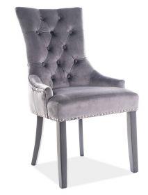 Jídelní čalouněná židle EDWARD VELVET šedá/černá
