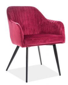 Jídelní čalouněná židle ELINA velvet červená bordó/černá