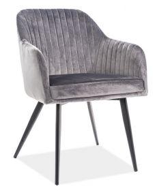 Jídelní čalouněná židle ELINA velvet šedá/černá