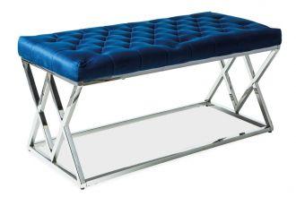 Čalouněná lavice ELIXA granátově modrá/chrom