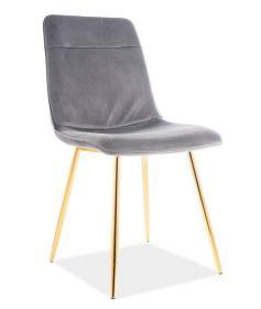 Jídelní čalouněná židle EROS VELVET šedá/zlatá