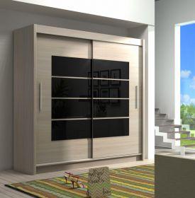 Šatní skříň VANCOUVER sonoma černé sklo