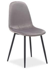 Jídelní čalouněná židle FOX VELVET šedá/černá